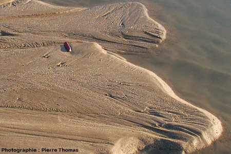 Figures de courant actuelles sur un banc de sable