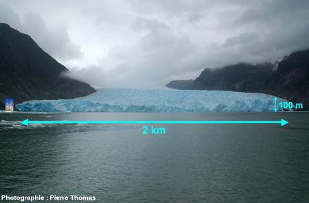 Vue générale du front du glacier de San Rafael, Patagonie chilienne