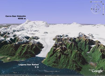 Image Google Earth du glacier de San Rafael, qui se jette dans la Laguna San Rafael, Patagonie chilienne