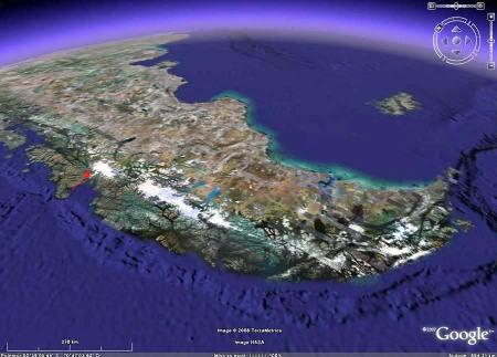 Localisation du glacier San Rafael (flèche rouge) en Patagonie chilienne