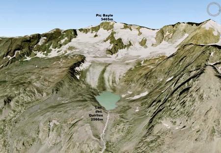 Image IGN - Géoportail du glacier des Quirlies se jetant dans le lac éponyme, massif des Grandes Rousses, près de l'Alpe d'Huez