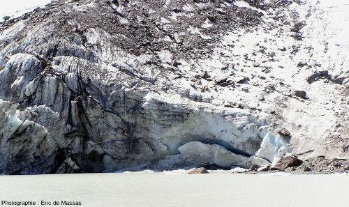 Le front du glacier des Quirlies, près de l'Alpe d'Huez, Massif des Grandes Rousses (38), août 2004