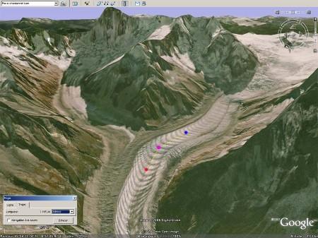 Utilisation de Google Earth pour mesurer la distance correspondant à 10ans d'avancée d'un glacier