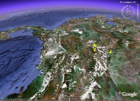 Localisation des principaux gisements d'émeraude de Colombie