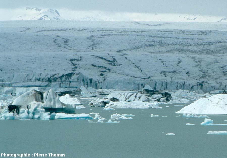 Détail sur les lignes noires sinueuses à la surface du Vatnajökull (Islande)