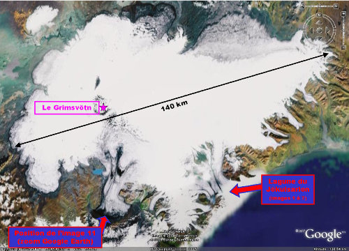 Le Vatnajökull (le plus grand glacier d'Islande), la lagune du Jökulsarlon et le volcan Grimsvötn