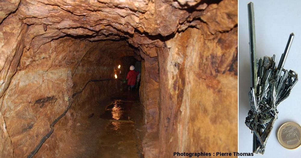 Une galerie de la mine de la Rodde, Ally, Haute Loire, et échantillon de stibine