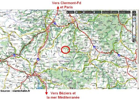 Le secteur d'Ally (cercle rouge) en Haute Loire, sur carte Michelin