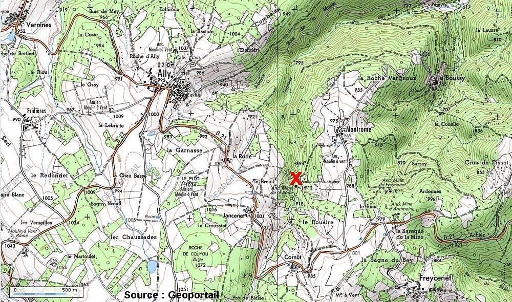 Extrait de carte IGN localisant la mine de la Rodde près du village d'Ally (Haute Loire)