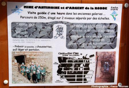Panneau informatif posé à l'accueil de la mine de la Rodde, près d'Ally (Haute Loire)