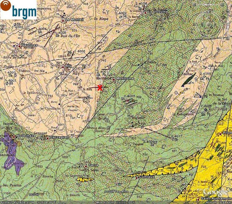 Extrait de la carte géologique de Langeac au 1/50000 montrant le cadre géologique de la mine de la Rodde (croix rouge), Ally (Haute Loire)