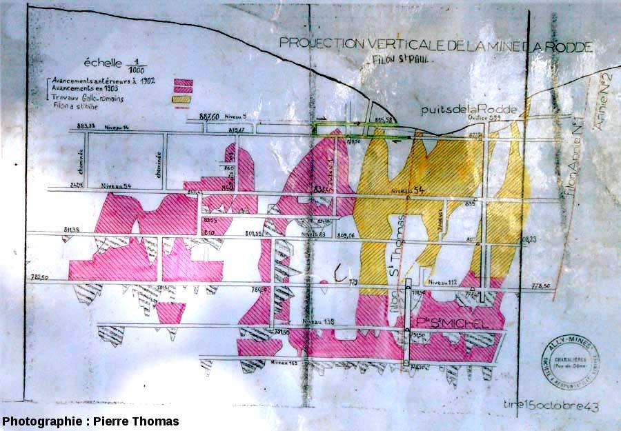 Document de la mine de la Rodde (Ally, Haute Loire) montrant une coupe effectuée le long du filon quasi-vertical dit St Paul, le principal filon du secteur