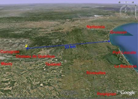 Image Google Earth de la partie orientale des Corbières, entre Narbonne et Perpignan