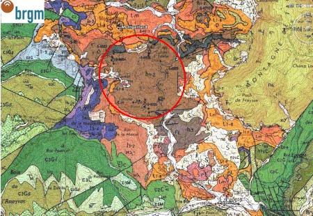 Carte géologique BRGM / Google Earth du secteur de Padern-Montgaillard