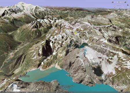 Localisation de la dalle à empreintes de reptiles, vieux lac d'Émosson (Suisse)