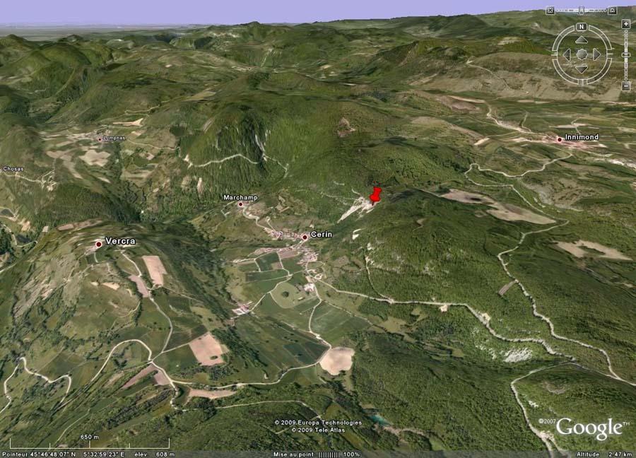 Localisation du site de Cerin (Ain)