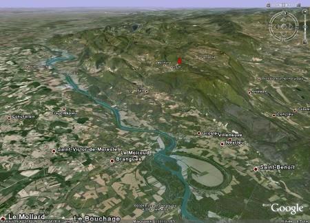 Localisation régionale du site de Cerin (Ain) dans la partie sud du Jura