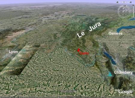 Localisation régionale du site de Cerin (Ain)