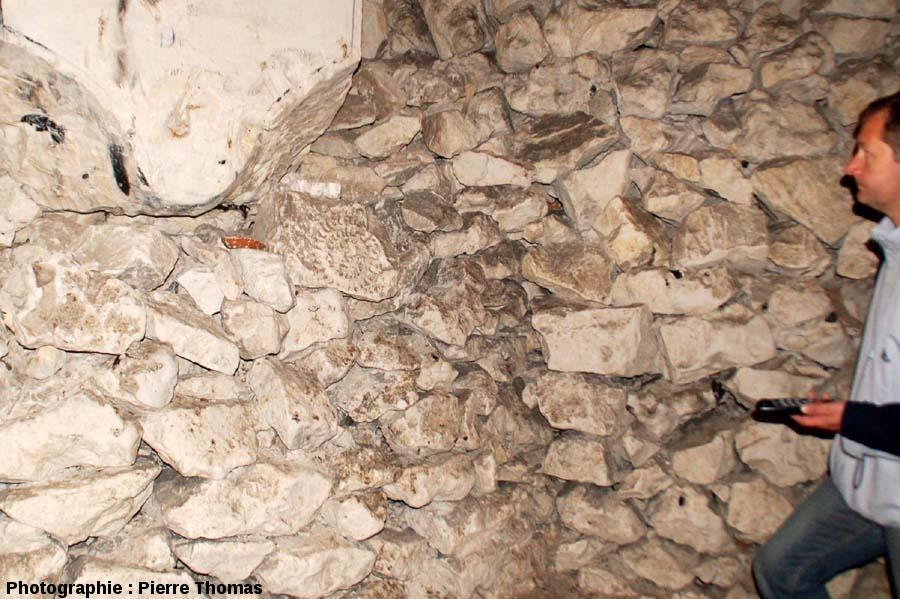 Ammonite dans l'une des pierres de soutènement d'une salle, cité souterraine de Naours, Somme
