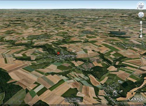 """Vue """"aérienne"""" du site de Naours (Somme): vallée creusée dans le plateau crayeux picard"""