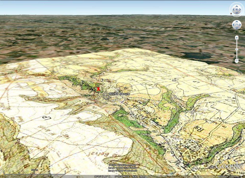 """Vue """"aérienne"""" et géologique du site de Naours (Somme): vallée creusée dans le plateau crayeux picard"""