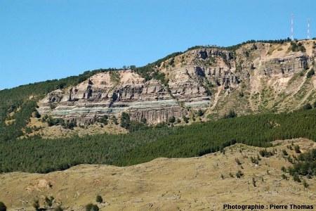 Vue générale de la falaise avec horst et failles normales conjuguées chilienne, région de Coihaique / Balmaceda, Patagonie chilienne
