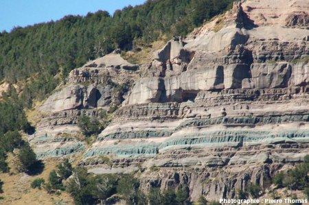 Détail de la faille normale solitaire, à gauche (figure 1) du horst, région de Coihaique / Balmaceda, Patagonie chilienne