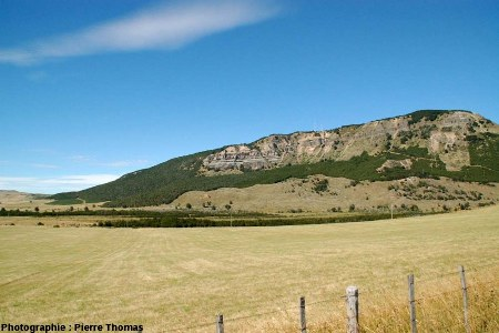 Vue éloignée de la falaise avec horst et failles normales conjuguées chilienne, région de Coihaique / Balmaceda, Patagonie chilienne