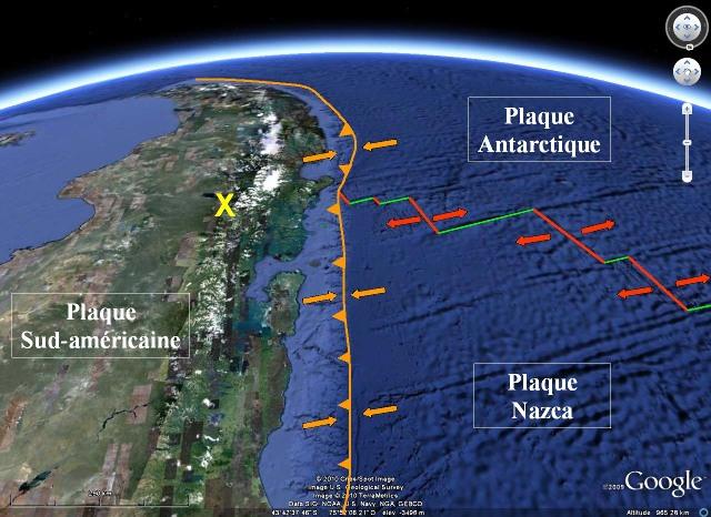 Contexte géodynamique de l'affleurement, au pied oriental de la Cordillère des Andes, Région de Coihaique / Balmaceda, Patagonie chilienne