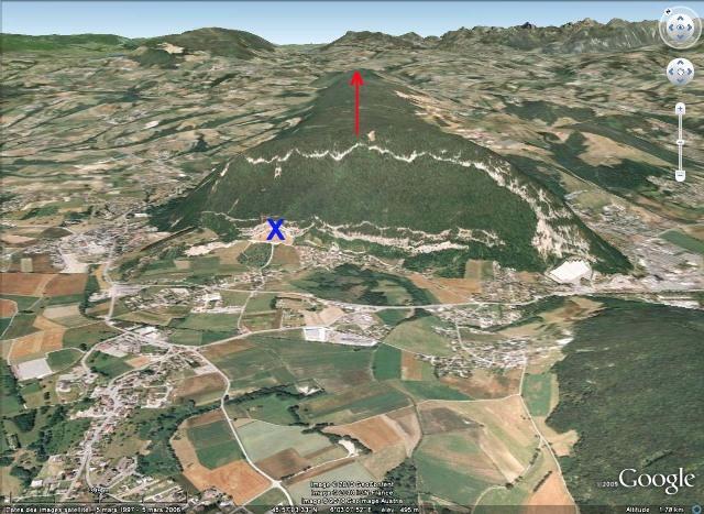 Vue Google Earth 3D rapprochée de l'anticlinal de la Petite Balme, Sillingy (Haute Savoie)