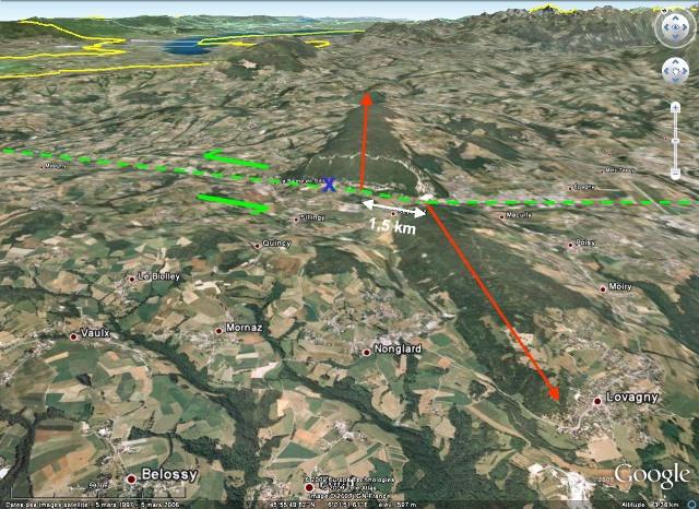 Vue Google Earth 3D éloignée de l'anticlinal (ou plutôt des deux demi-anticlinaux) de la Petite Balme, Sillingy (Haute Savoie)