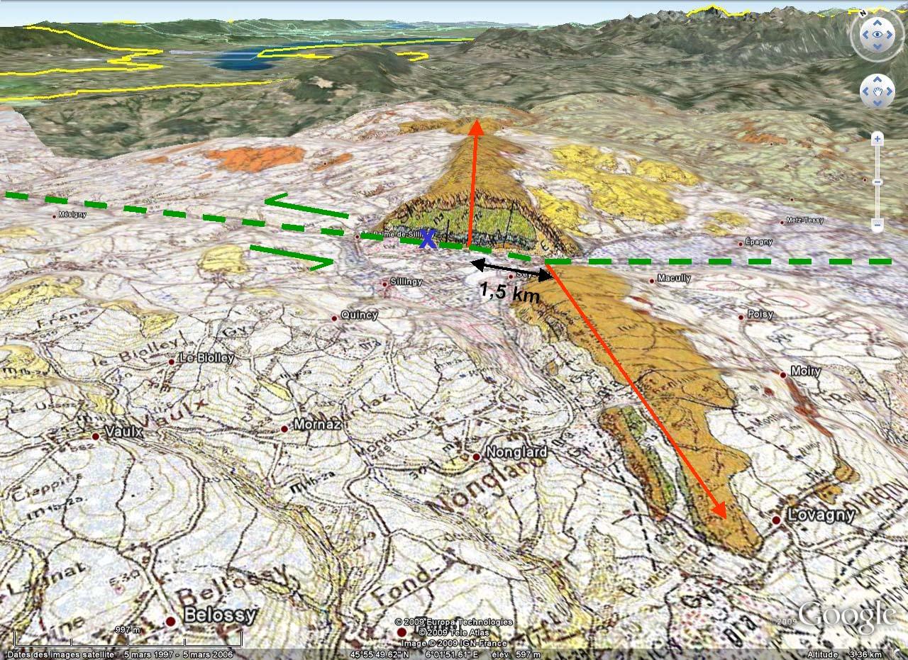 Vue Google Earth 3D éloignée, avec carte géologique du BRGM, de l'anticlinal (ou plutôt des deux demi-anticlinaux) de la Petite Balme, Sillingy (Haute Savoie)