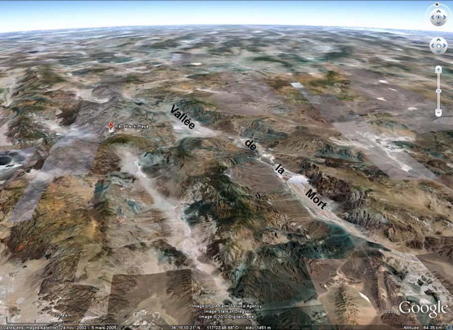 Contexte géographique et géologique de Racetrack Playa, Californie