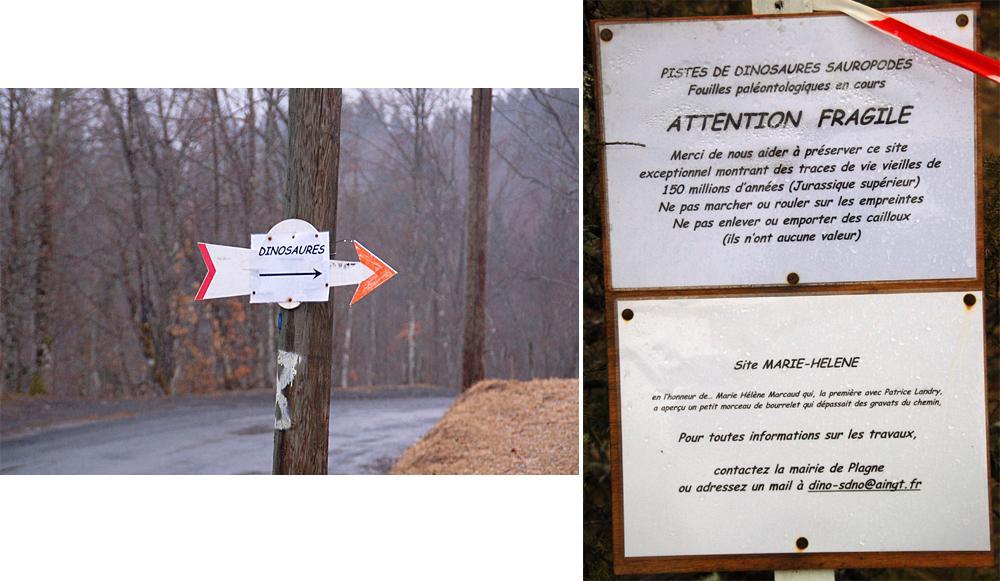 Signalisation au voisinage du site de Plagne (Ain) en mars 2010
