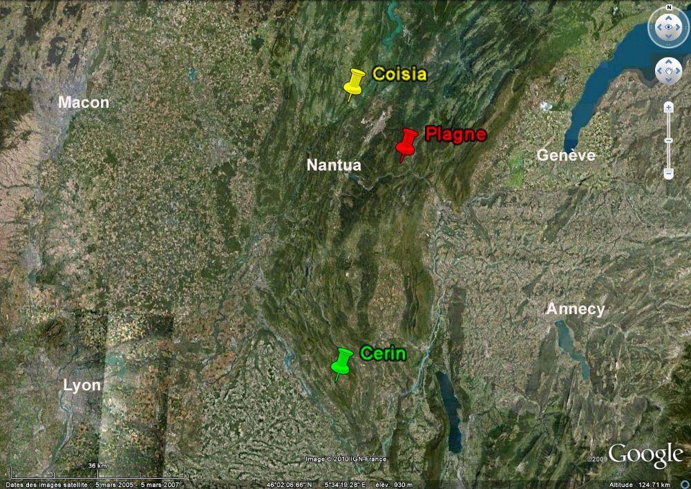 Localisation du site de Plagne (Ain) dans la chaîne du Jura