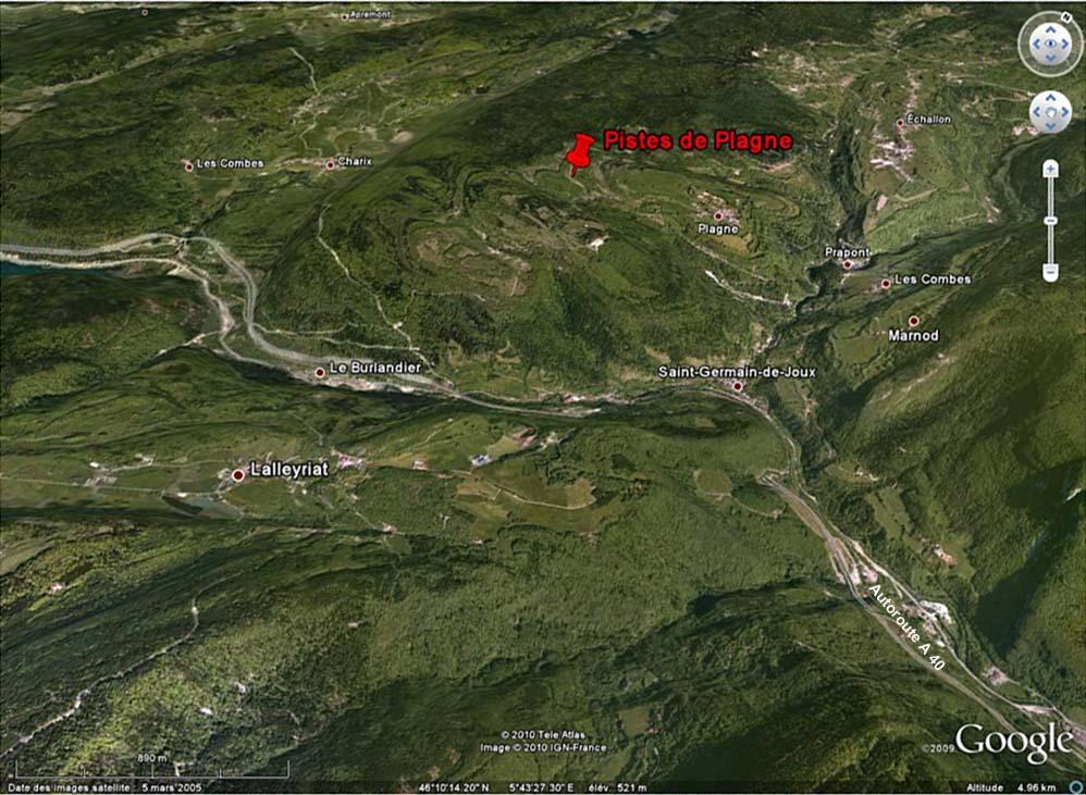 Localisation en vue 3D du site de Plagne (Ain) dans la chaîne du Jura