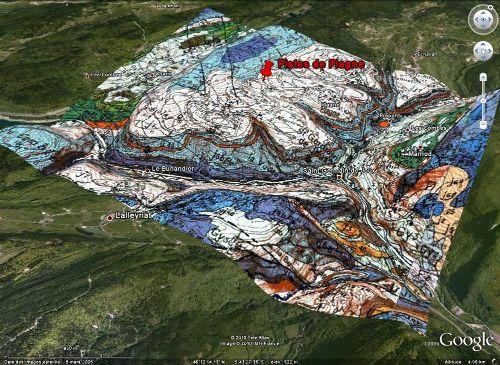 Localisation 3D et géologie du site de Plagne (Ain) dans la chaîne du Jura
