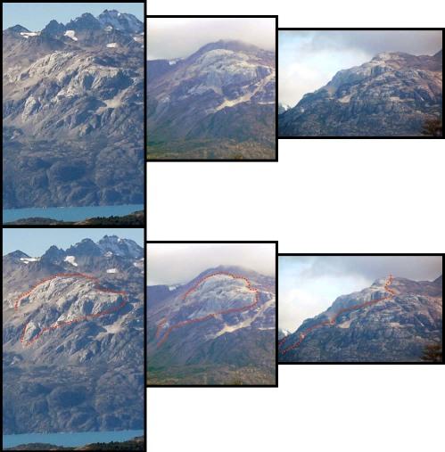 3 images «nues» et «interprétées» montrant sous 3 angles différents le petit pluton granitique sur la rive Nord-Ouest du lac Général Carrera-Buenos Aires, Chili