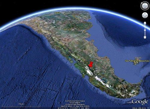 Localisation du pluton granitique du bord du lac Général Carrera-Buenos Aires, Chili