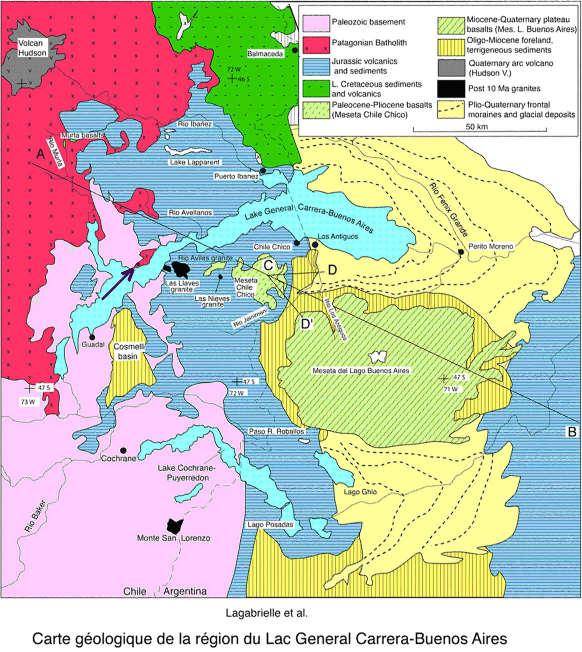 Carte géologique de la région du lac Général Carrera-Buenos Aires, lac partagé entre le Chili (à l'Ouest) et l'Argentine (à l'Est)