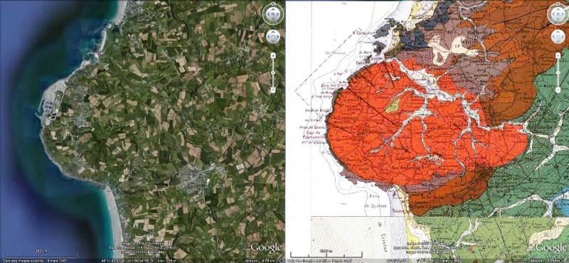 Comparaison entre l'image satellite Google Earth et la carte géologique BRGM du granite de Flamanville