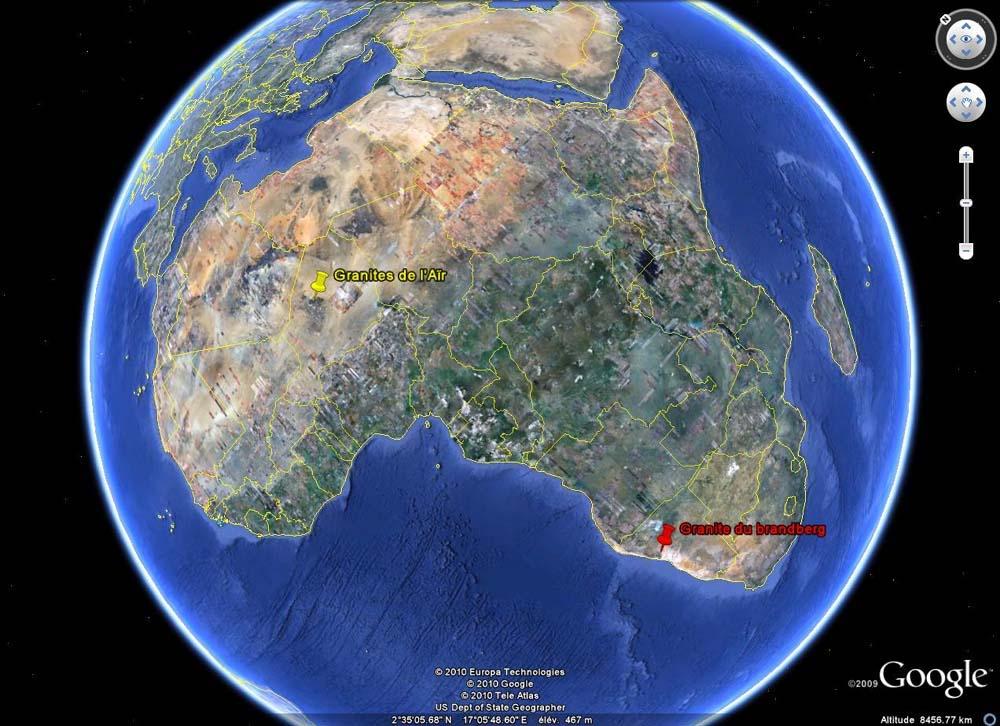 Localisation des granites de l'Aïr (Niger) et du Brandsberg (Namibie)