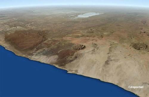L'intrusion granitique du Brandsberg sur la côte namibienne