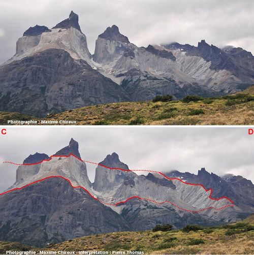 Images brute et interprétée du versant Sud de l'intrusion granitique de Torres del Paine (Chili)
