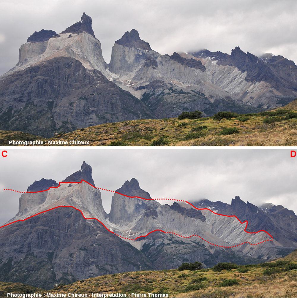 Images brute et interprétée du versant Sud de l'intrusion granitique de Torres del Paine (Chili)