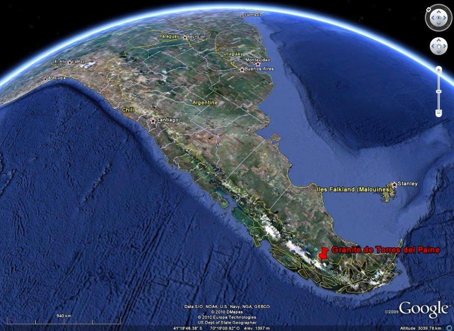 Localisation du granite de Torres del Paine dans les Andes chilienne de Patagonie du Sud