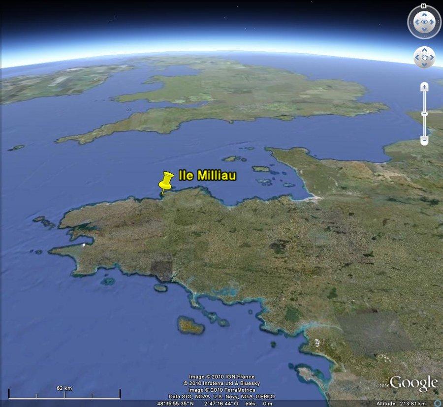 Localisation de l'île Milliau et du granite de Ploumanac'h en Bretagne
