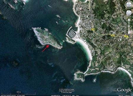 Localisation de l'affleurement (à marée haute) sur l'île Milliau, Trébeurden (Côtes d'Armor)