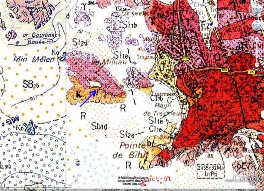 Extrait de la carte géologique BRGM de Lannion, île Milliau, Trébeurden (Côtes d'Armor)