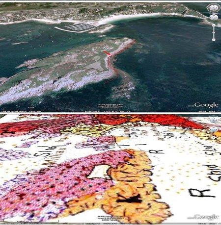 Image interprétée et carte géologique en vues obliques de l'île Milliau, prises en direction de l'Est